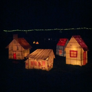 Lantern houses fabricated by community artists for Into The Light, City of Whittlesea. Photo - Andrew Garton